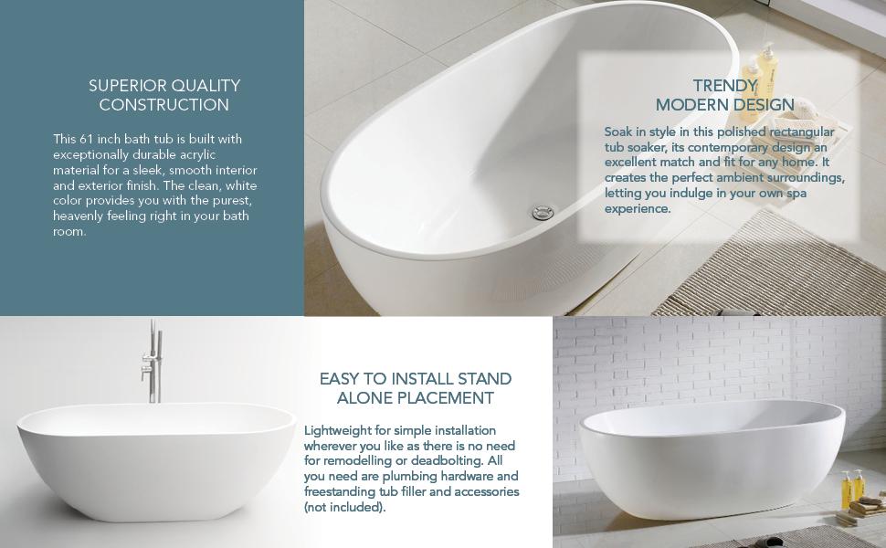 acrylic stand alone bathtubs