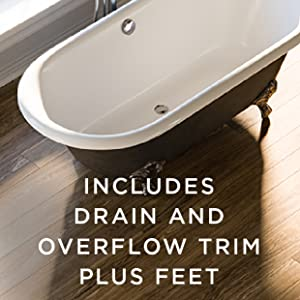 compatible silver polished chrome drain is included and overflow trim and claw feet