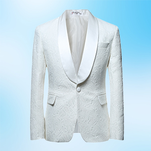 YFFUSHI Mens 2 Piece Suits White Tuxedo 1 Button Shawl Collar Party Dinner Suit