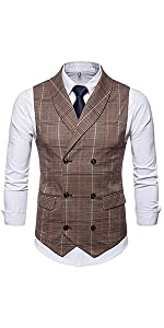 men's plaid tweed shawl lapel vintage vest