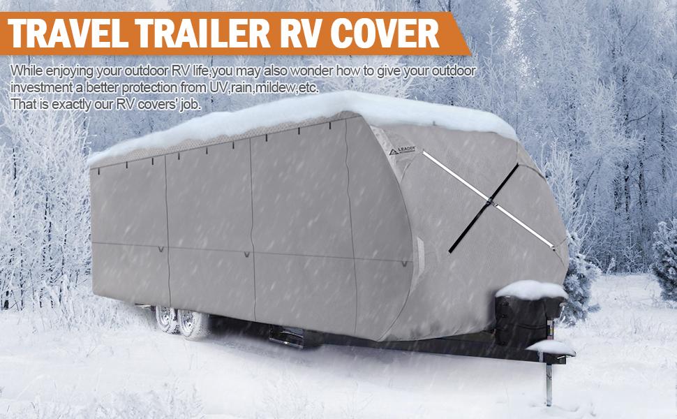 Leader Accessories Travel Trailer RV Cover Fits 20'-22' Trailer Camper  Polypropylene 270