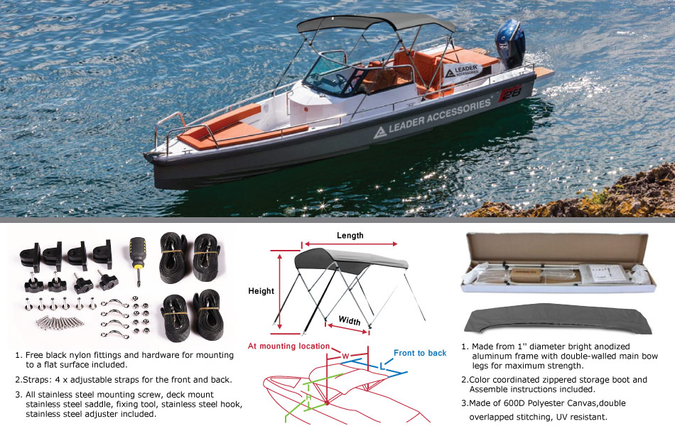 TipHow to measure your boat for a bimini top? & Amazon.com : Leader Accessories Grey 3 Bow Bimini Boat Tops ...
