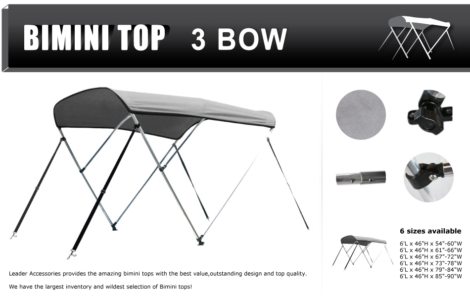 TipHow to measure your boat for a bimini top?  sc 1 st  Amazon.com & Amazon.com : Leader Accessories Grey 3 Bow Bimini Boat Tops ...