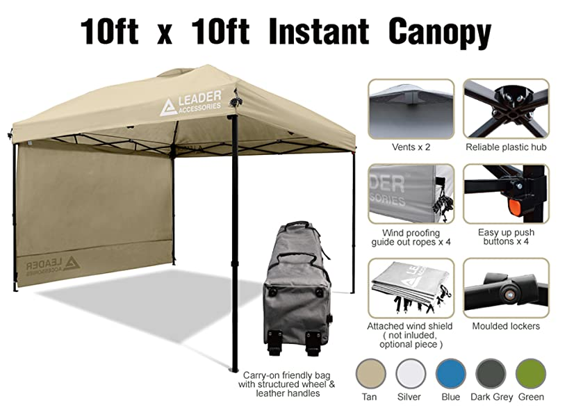 Materials Powder-coated rust resistant steel frame and Fully silver back coated UPF 50+ UV Protection durable 210D Polyester  sc 1 st  Leader Accessories & LeaderAccessories Canopy