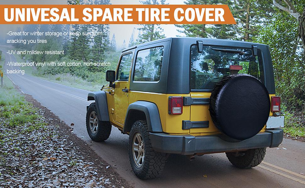 Leader Accessories Univesal Spare Tire Cover for Jeep White, 20-22 Truck Wheel SUV Trailer RV