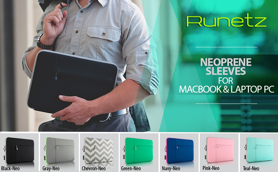 Amazon Com Runetz Macbook Pro 15 Inch Sleeve Neoprene Case For A1990 A1707 A1398 With Accessory Pocket Cover 2019 2018 2017 2016 Laptop Sleeve 15 Inch Black Computers Accessories
