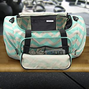 4671037c478d Chevron Teal Hot Teal Pockets gym bag. navy dark blue carry bag overnight  travel sports