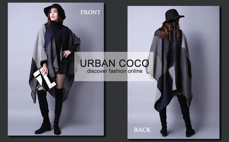 Urban CoCo Women's Color Block Shawl Wrap Open Front