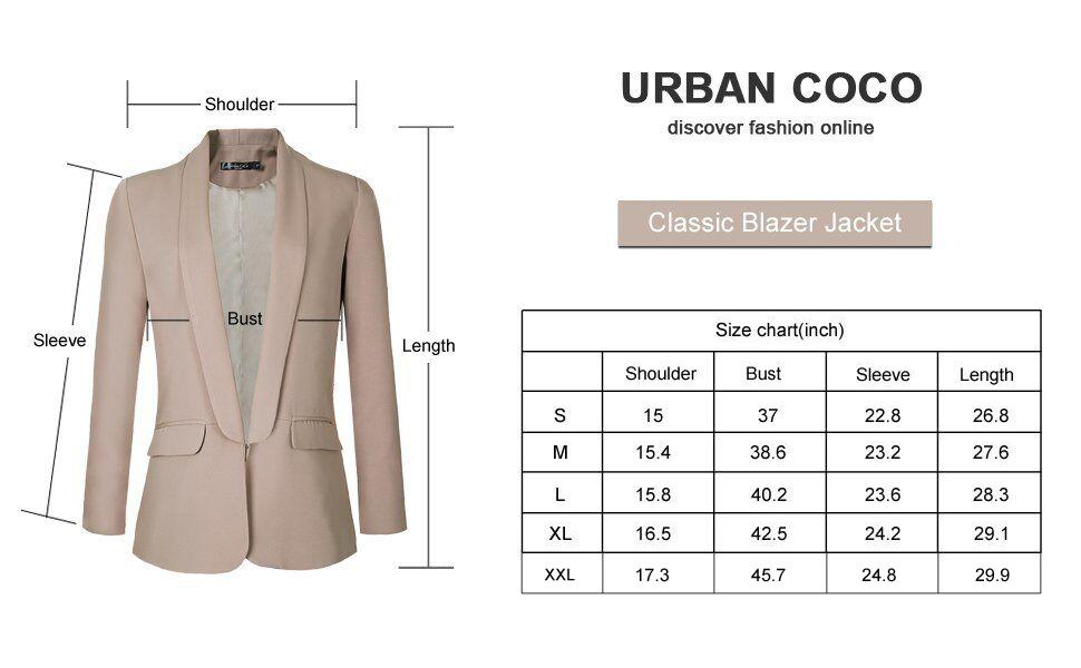 Amazon.com: Urban CoCo Office Blazer - Chaqueta para mujer ...
