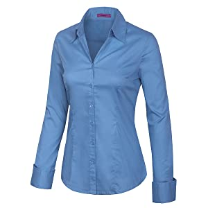 7b6155c2 KOGMO Womens Long Sleeve Button Down Shirts Office Work Blouse (S-3X ...