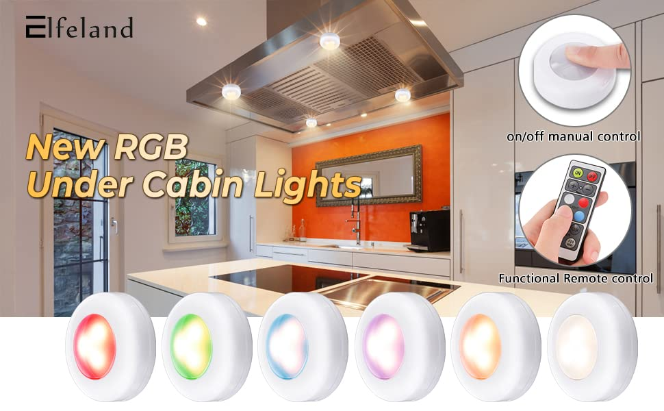 LED Closet Lights Elfeland RGB Puck Lights 16 Colors 3 Modes Fairy Lights Wireless Under Cabinet Lighting Battery Powered Night Lights with Remote Control Dimmer & Timing Function (6 Pack) - - Amazon.com