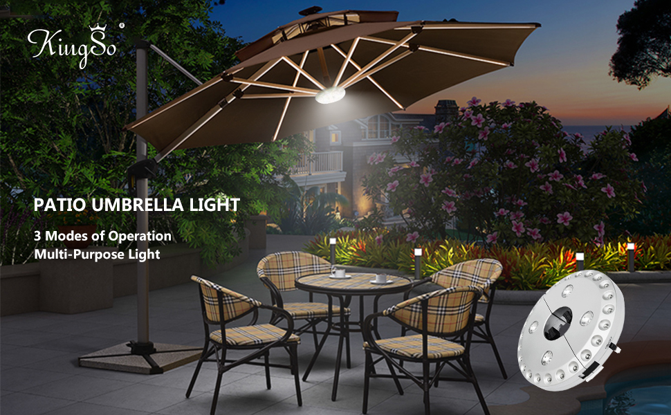 Kingso patio umbrella light 3 level dimming wireless 28 leds lights this led umbrella light is ideal for all your outdoor activities in the evening it is lightweight portable easy to install on patio unbrella with its mozeypictures Gallery
