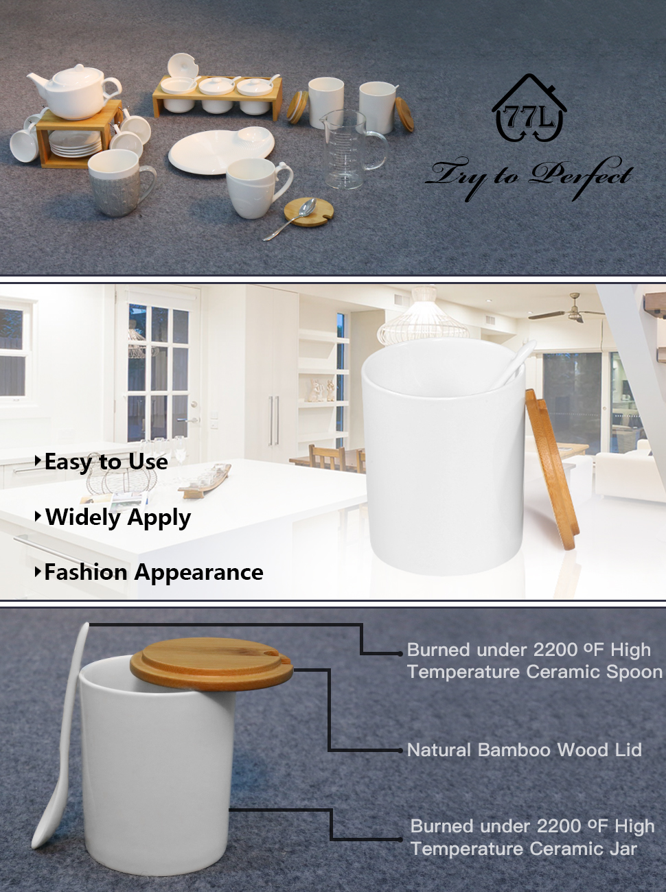 77L Sugar Bowl Is A Must Have For Modern Home U0026 Kitchen. Itu0027s Perfect For  Storing Sugar, Pepper, Spice, Etc. Elegant Design: The Glamorous White  Porcelain ...
