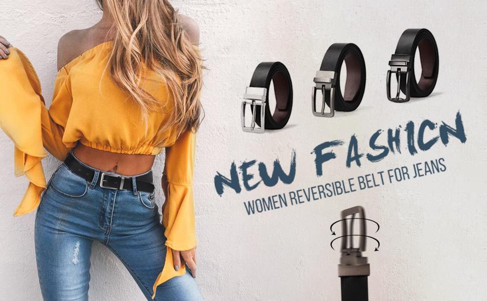 Amazon.com: Cinturones de cuero reversibles para mujer con ...