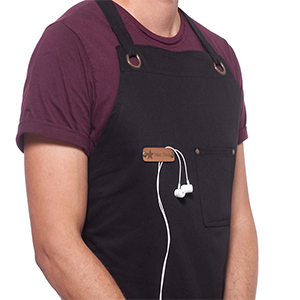headphones loop with a chest pocket fpr the apron chef cook