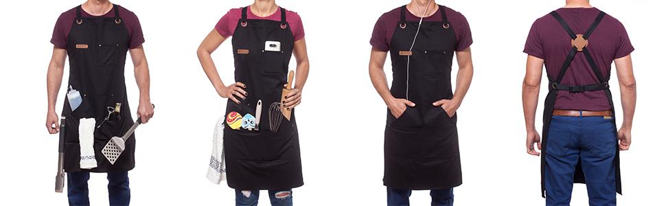aprons for women and men chef apron mens apron barber apron black headphones loop