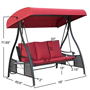 Amazon Com Patiopost Outdoor Swing Chair Seats 3 Porch