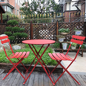 Grand Patio Outdoor Indoor 3 Set Chairs And Table With Color Red