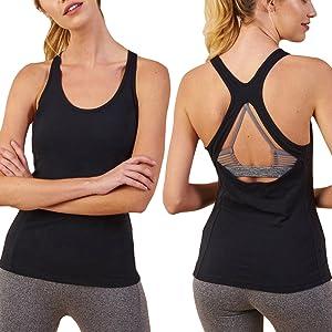 680110d2fa2c2 Mippo Women s Sexy Backless Workout Shirt Criss Cross Sports Open ...
