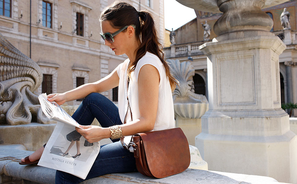 Floto Italian leather bag, women's bag, saddle bag, hobo bag, roma crossbody bag