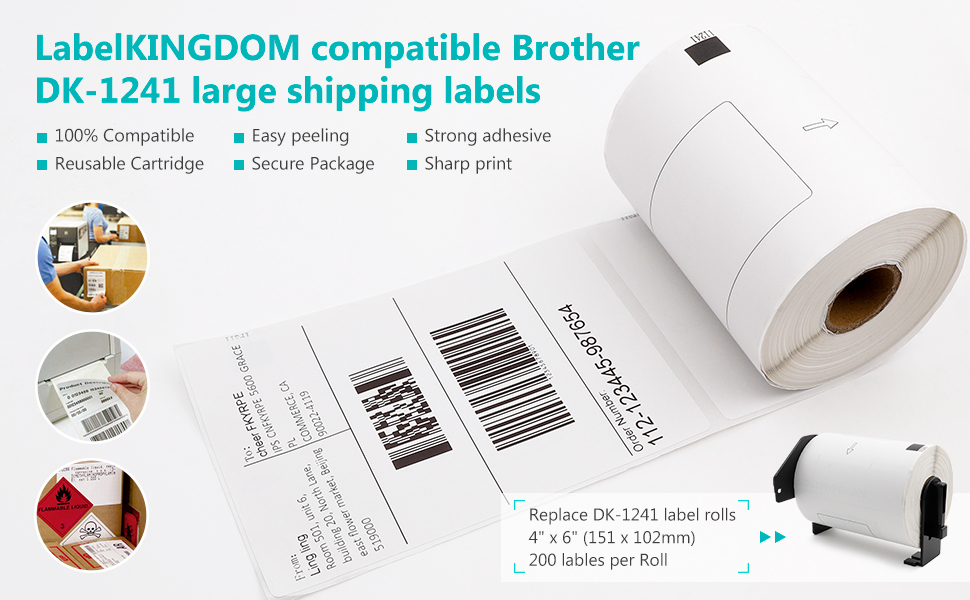 Label KINGDOM Compatible Rolls Replacement for DK-1241 Die-Cut Large Shipping Labels 200//Roll DK Labels Compatible with Brother QL Printer QL-1050 4x 6 1 Roll+1 Reusable Frame 102 mm x 151 mm