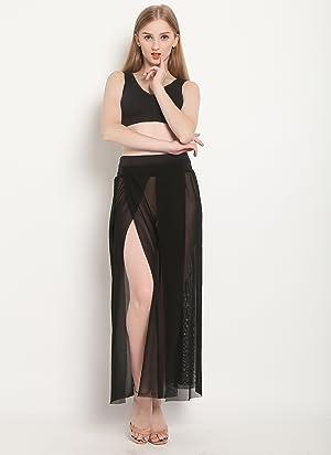2d00cef62aeaf Womens Sheer Sarong Side Slit Beach Skirt 4 Maxi Swimsuit Cover Ups Swimwear