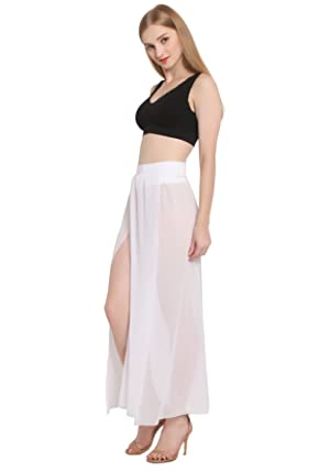 JAKY Womens Sheer Sarong Side Slit Beach Skirt Maxi