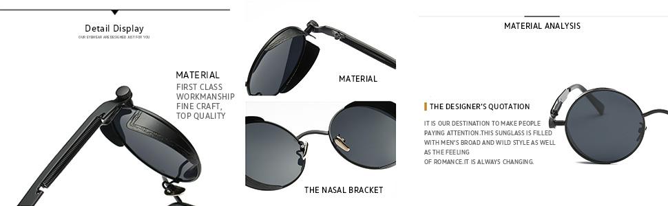38b80166600 Amazon.com  Dollger Gothic Steampunk Black Round Glasses Metal Frame ...