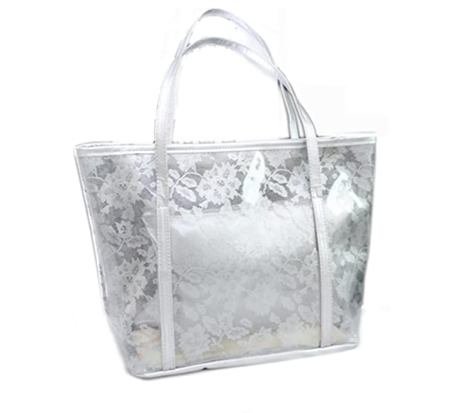 Amazon.com: Las mujeres semi-clear playa bolso transparente ...