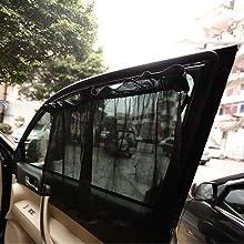 hongxinq hongxinq 1 Pair Anti-UV Sun Shade Car Rear Side Window Curtain with Suction Cup