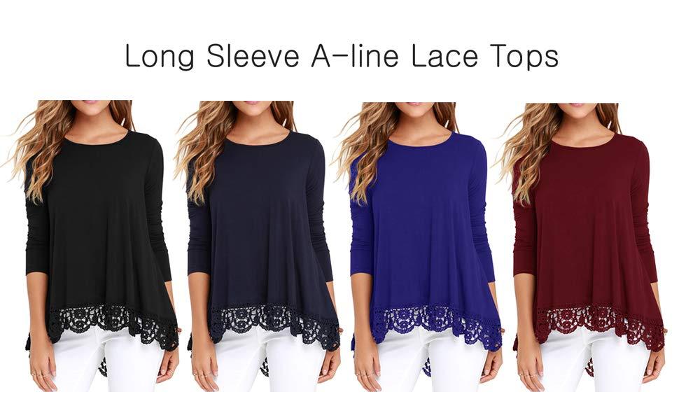 08bd48001b9e QIXING Women's Tops Short Sleeve Lace Trim O-Neck A-Line Tunic ...