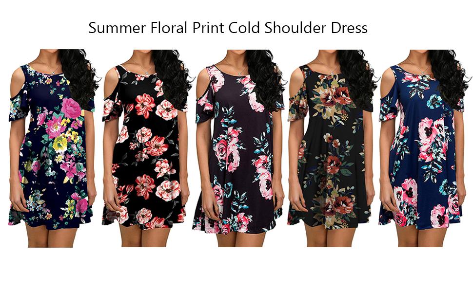 Summer Floral Print Cold Shoulder Dress