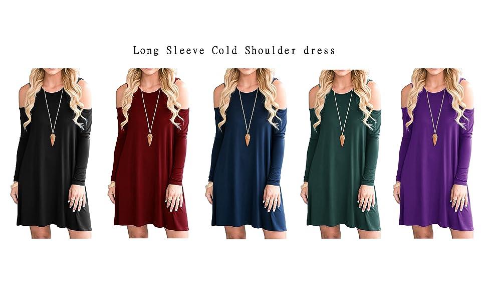 5f5160e3222 QIXING Women's Summer Cold Shoulder Tunic Top Swing T-shirt Loose Dress  With Pockets.