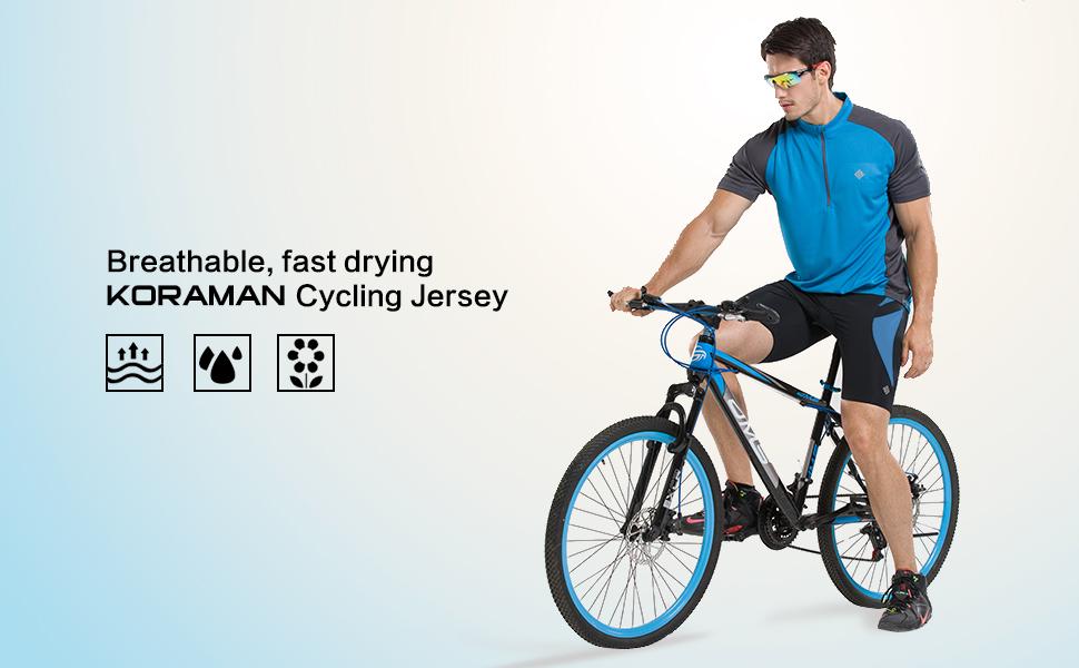 Amazon.com   KORAMAN Men s Reflective Short Sleeve Cycling Jersey ... 3c5ac7cdd