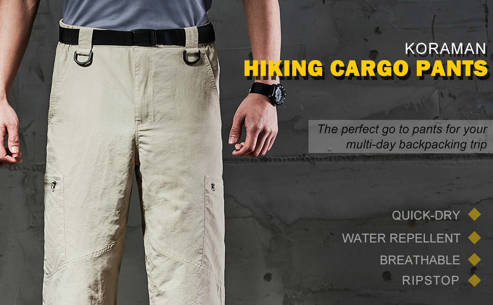 KORAMAN Mens Outdoor Lightweight Stretch Cargo Quick Dry Hiking Travel Pant-Breathable Water Repellent