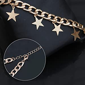 b179d236459698 Material: Alloy Dangling Stars Choker Necklace for Women Statement Bib  Vintage Retro Silver Gold Boho Jewelry Chain Length adjustable 11 inches +  3.93 ...