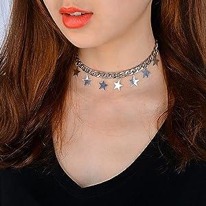 5e1d999415128a Amazon.com: CrazyPiercing Silver Tone Star Necklace, Tassel Star ...