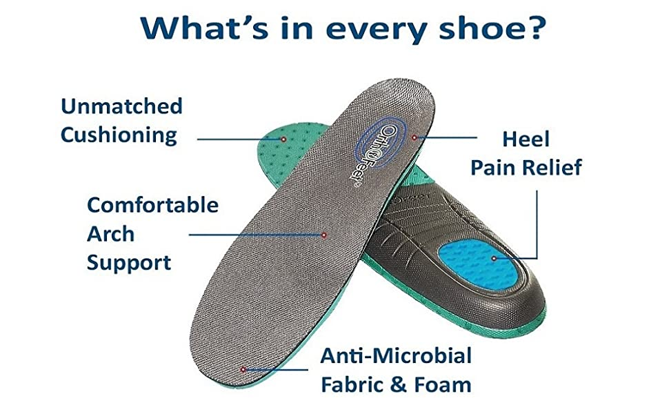 cushioning comfortable arch support heel pain releif anti-microbial fabric and foam