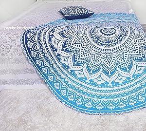Wakauto Manta de Playa Redonda Mandala Tapiz Borla Throw Tapiz Estera de Microfibra Toallas de Ba/ño Foto de Fondo Tela para Ba/ño Junto Al Mar