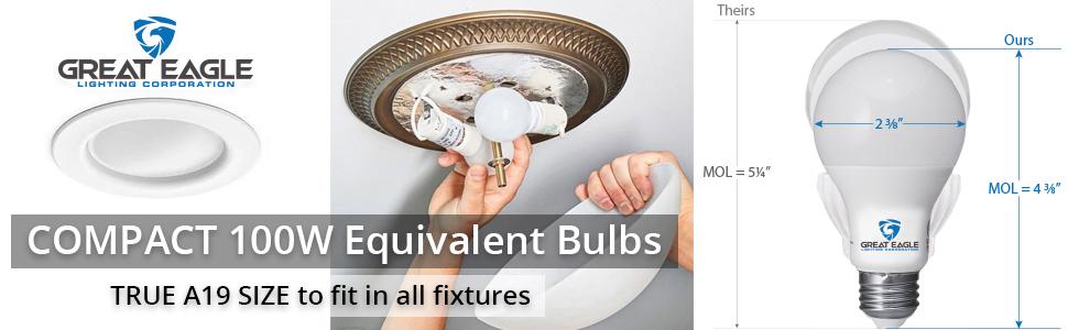 Compact 100W LED bulbs