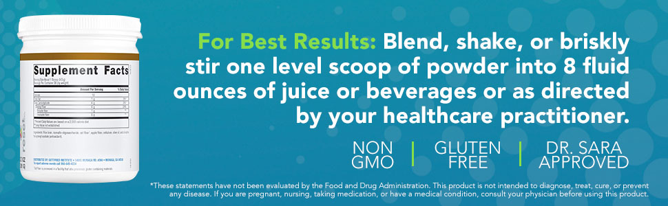 non gmo gluten free blend shake or stir on level scoop of powder into 8 fluid ounces of liquid
