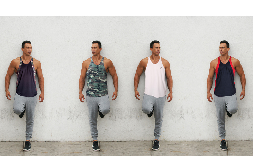 3c74d773b6e5c4 Pitbull Clothing Men s Tank Tops - Sweat Wicking Racer Back Thin Strap Y  Back Gym Vest Stringer Tanks