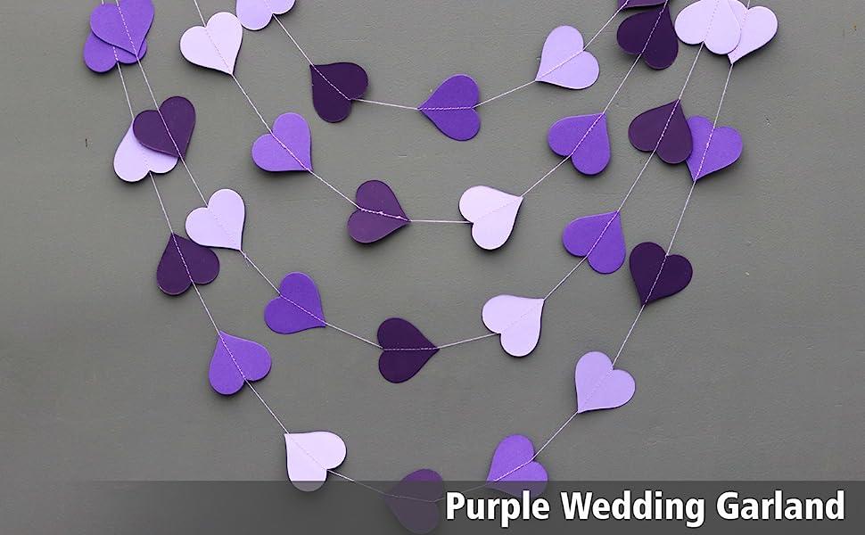 Boston Creative company Shimmer garland,Paper garland,Birthday Decorations,Wedding decor Silver wedding decoration,Silver garland,Purple silver garland