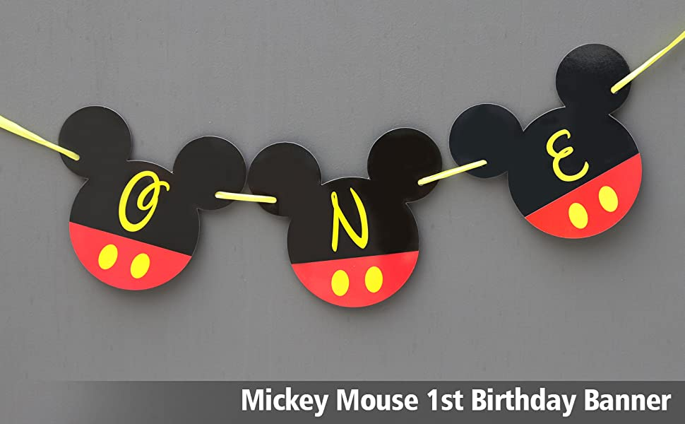 Mickey Mouse 1st Birthday Banner | ONE Birthday Banner | Happy Birthday Banner | Mickey mouse birthday Banner | Mickey Banner | Club House 1st ...