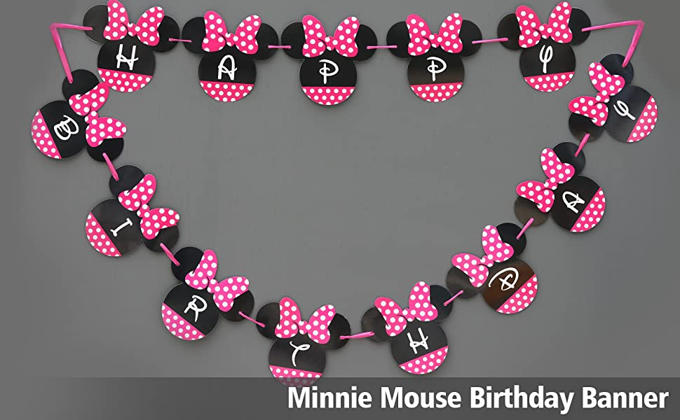 Amazon.com: Minnie Mouse Banner cumpleaños | Minnie Mouse ...