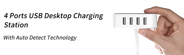 4 Ports USB Desktop Charging Station with Auto Detect Technology