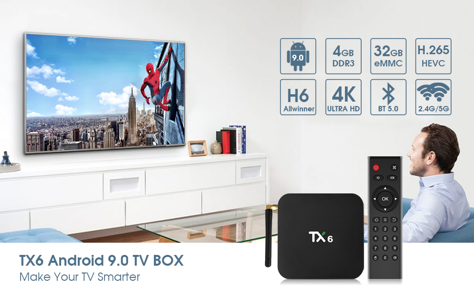Details about Android 9 0 TV Box,Pendoo TX6 Android TV Box 4GB DDR3 32GB  EMMC Dual WiFi