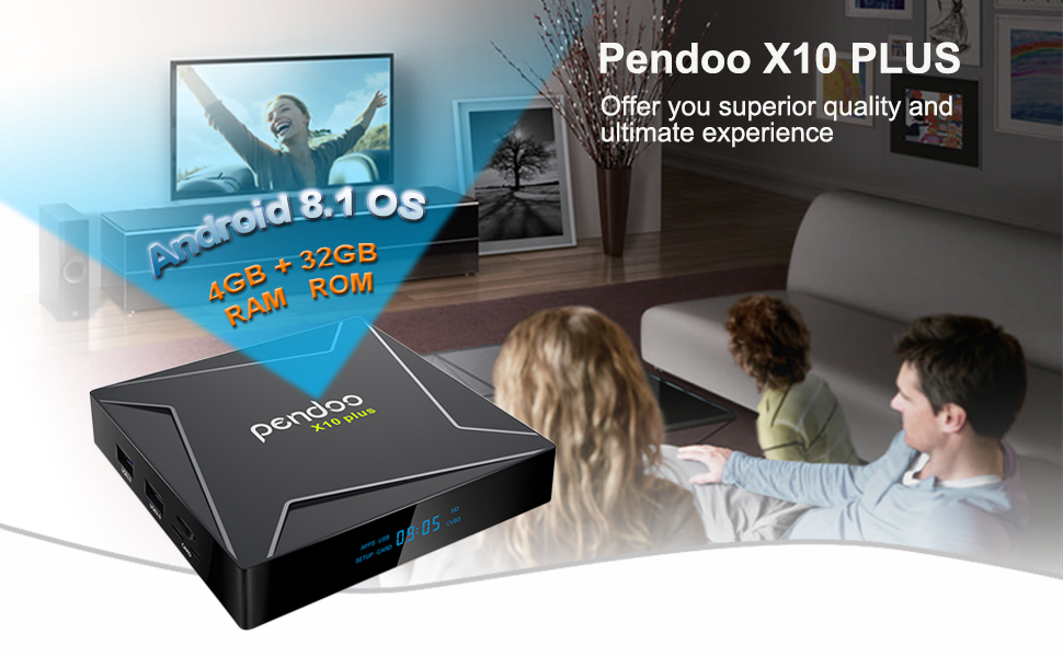 Pendoo X10 Plus Android TV Box 8 1 Amlogic S905X2 4GB DDR4 32GB eMMC,  Android TV Box 4K Ultra HD, Android Box with Voice Remote