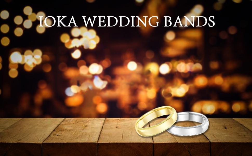 Ioka Milgrain White Yellow 14K Gold Wedding Bands