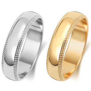 14K Gold Milgrain in Yellow and White Gold